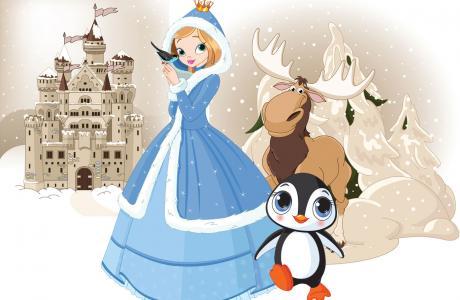 schatzsuche kindergeburtstag mit eisprinzessin und süßem Pinguin